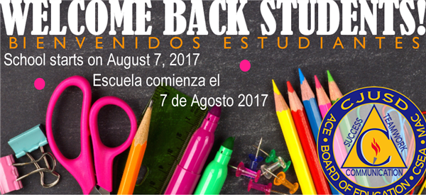 Welcome Back, schools starts on August 7, 2017.